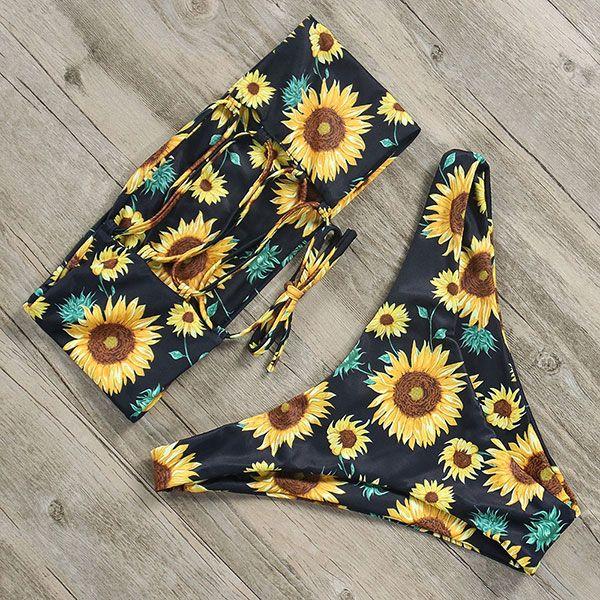 Ruuhee Brand New Bikini Swimwear Sexy Swimsuit Women 2018 Bandeau Low Waist Bikini Set Bathing Suit Swimming Suit  Beach Wear