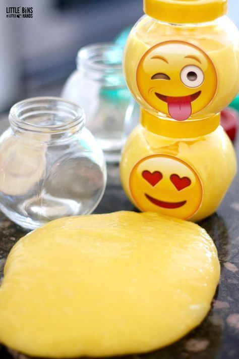Have a blast with emoji slime! Make emoji slime for party favors and print free emoji labels!