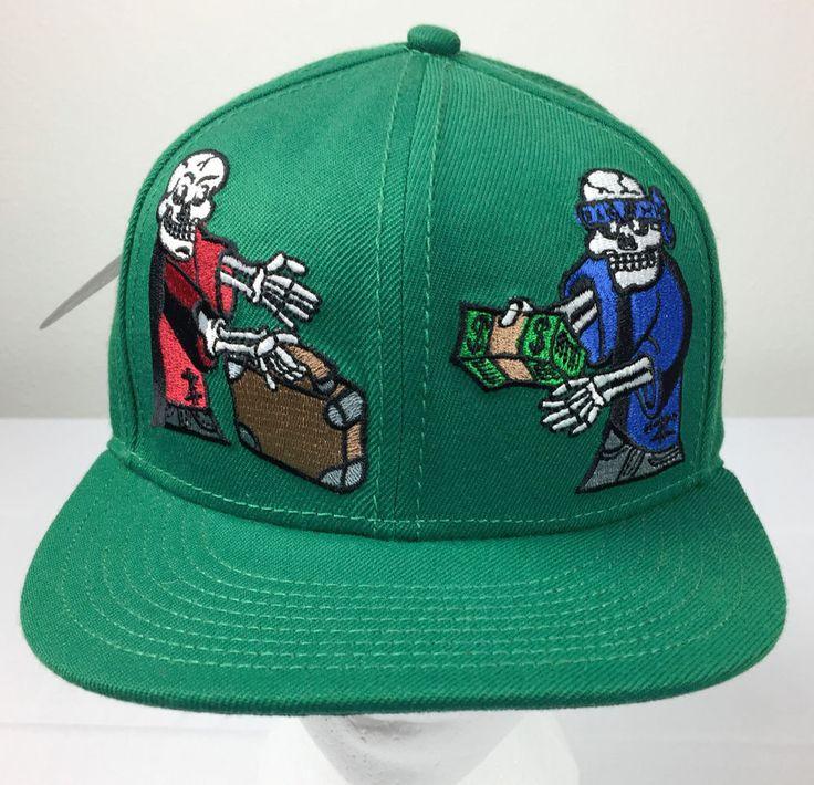 NWT Algierz Green Gotta Have Cash on Delivery Skeleton Snapback Baseball Hat Cap #Algierz #BaseballCap #Skeleton #snapbackhat #snapback