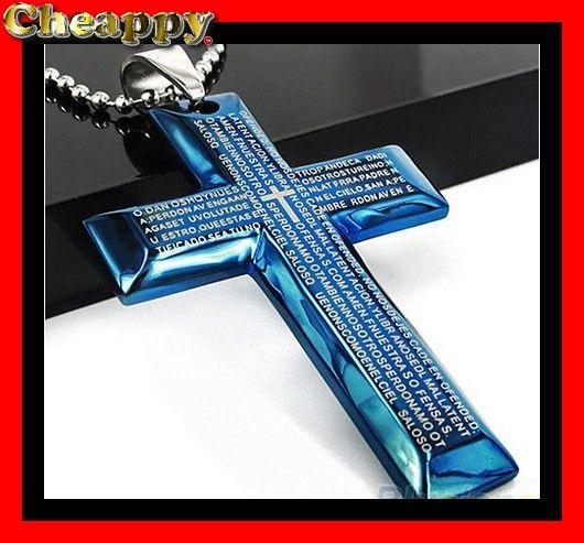 Mooi blauw kruis met Bijbel tekst - Cheappy