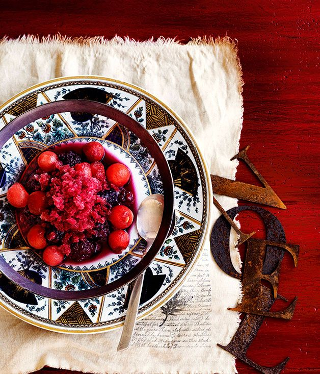 Watermelon and boysenberry granita with melon and sparkling shiraz - Gourmet Traveller