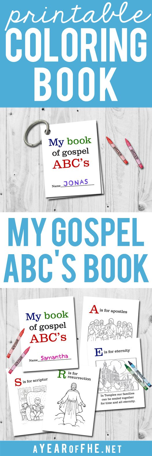 A Year of FHE: FREEBIE // LDS Gospel ABC's Printable Coloring Boo...