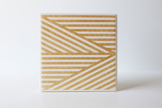 Gold Stripe Coasters Hand Painted White and Gold by theCoastal