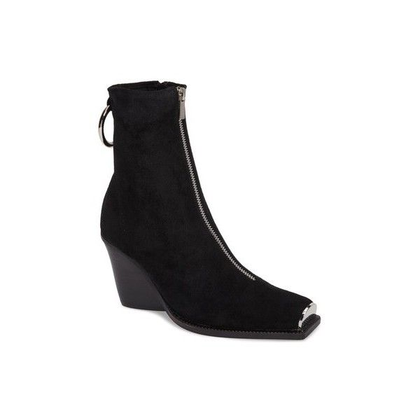 JEFFREY CAMPBELL Eubank Stretch Bootie featuring polyvore, women's fashion, shoes, boots, ankle booties, ankle boots, black wedge ankle booties, black wedge booties, black boots and black ankle bootie