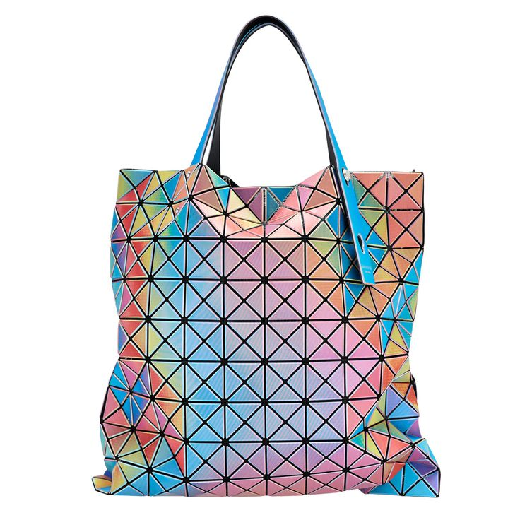 This high-tech rainbow hue tote by Issey Miyake a part of his iconic Bao Bao line. Called the Prism Aurora Tote, the bag is coated with triangular PVC panels in an array of ever-changing holographic colors for a bold fashion statement. Click to shop at store.metmuseum.org
