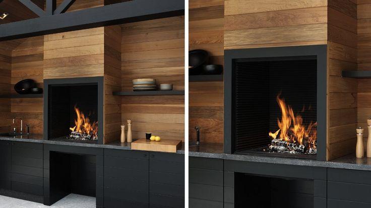 cuisine d'extérieur contemporaine noire et bois