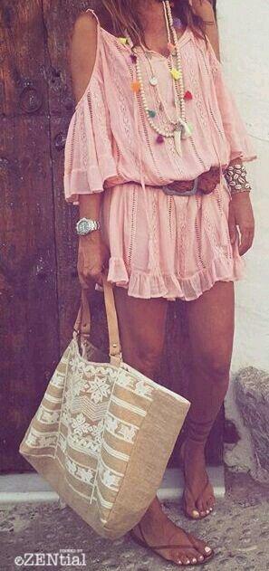 #Summer #Outfits for Spring Break / Pastel Pink Boho Playsuit