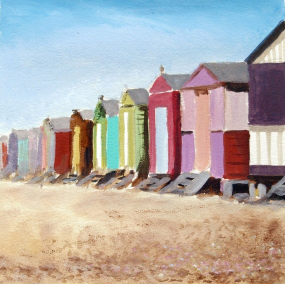 Beach huts at Herne Bay watercolour - I have many happy memories of a beach hut at Walton-on-the-Naze so I would love a beach hut painting.