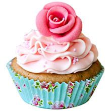 A good gift for girlfriend: Pink Rose Cupcakes (Six Cups)