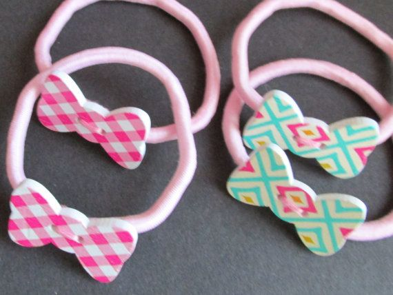 Pony tail holder  Wooden Bow Bobbins  two designs by Buttonnuthin