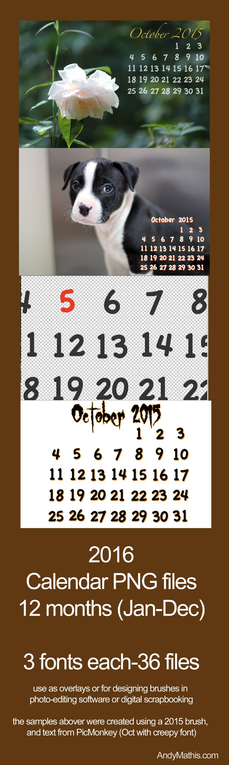 2016 calendar png files use as overlays or to make text brushes lots of
