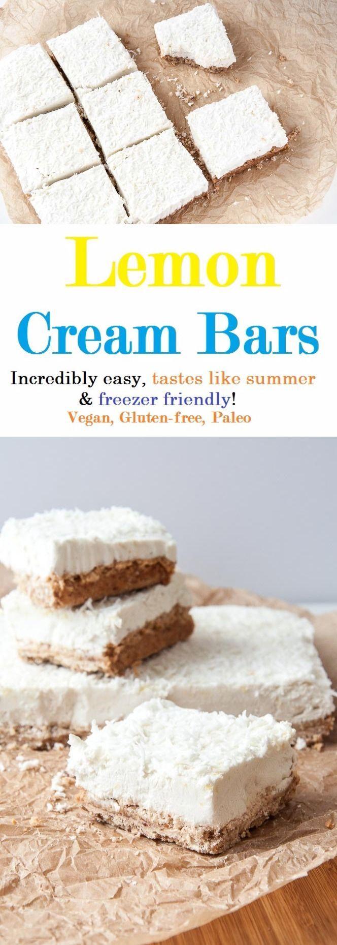 Lemon Cream Bars Recipe (v, gf) -- coconut flour, coconut oil, almonds, date, coconut cream, lemon zest, lemon juice, maple syrup or agave (opt), shredded coconut (opt)