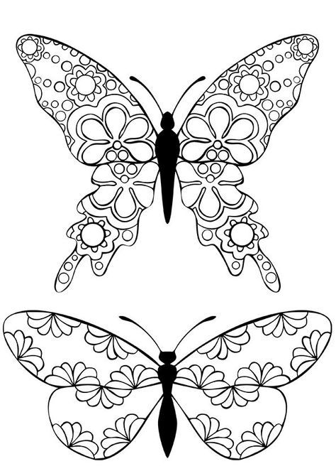 "Butterflies Coloring Page - Buzzle.com Printable Templates | free sample | Join fb grown-up coloring group: ""I Like to Color! How 'Bout You?"" https://m.facebook.com/groups/1639475759652439/?ref=ts&fref=ts"