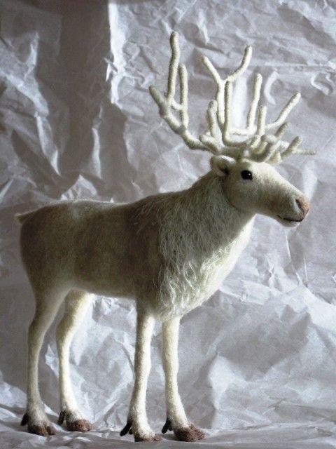 Needle felted white reindeer