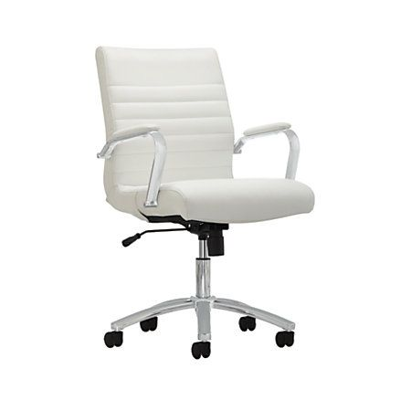 Reale Modern Comfort Series Winsley Mid Back Bonded Leather Chair White Item 907932 Desk Chairsoffice