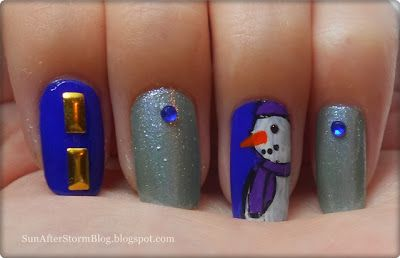 21. Snowman nails (Manichiura cu om de zapada) - Sun after Storm