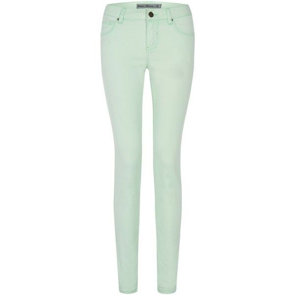 Neon Green Skinny Jeans ($15) ❤ liked on Polyvore featuring jeans, pants, bottoms, green, jeans / pants / leggings, mint green, denim skinny jeans, green jeans, mint green jeans and neon green cami