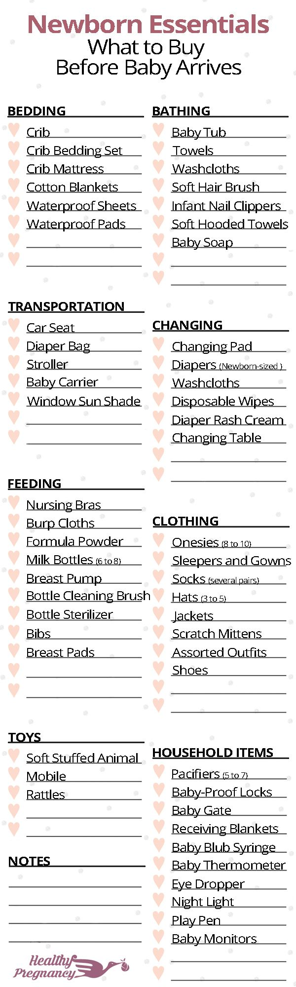 A complete shopping checklist for newborns. Everything you will want to stock up on before baby arrives.  Pregnancy   Pregnant   Shopping   Baby Items   Newborn Essentials