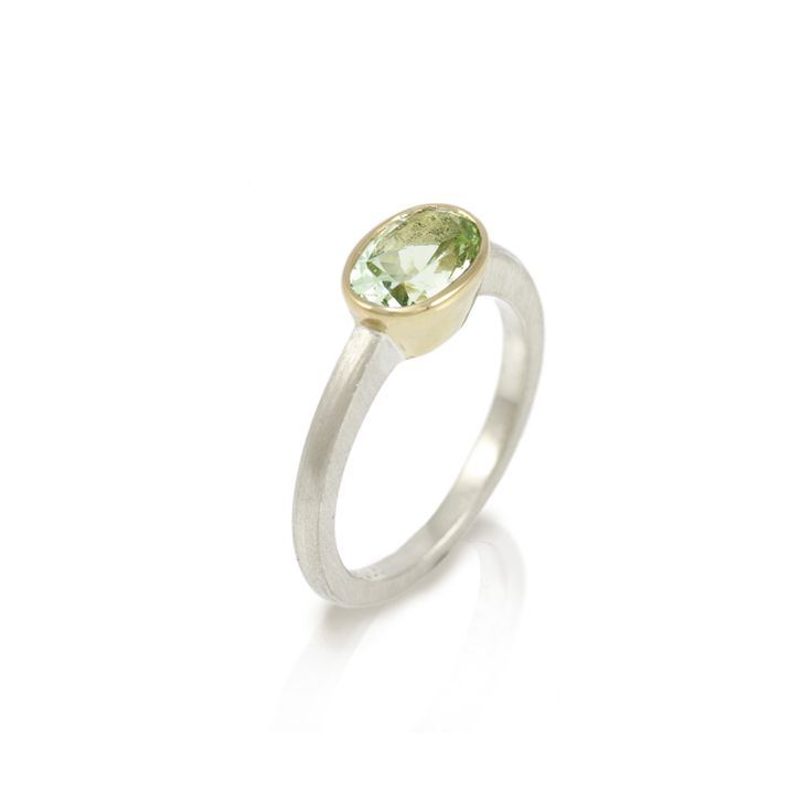 Nefertiti Green Aquamarine Gold Ring – in White and Yellow Gold  Hand-made in 9 carat white gold and 18 carat yellow gold, with oval faceted Green Aquamarine solitaire (8×6 mm).