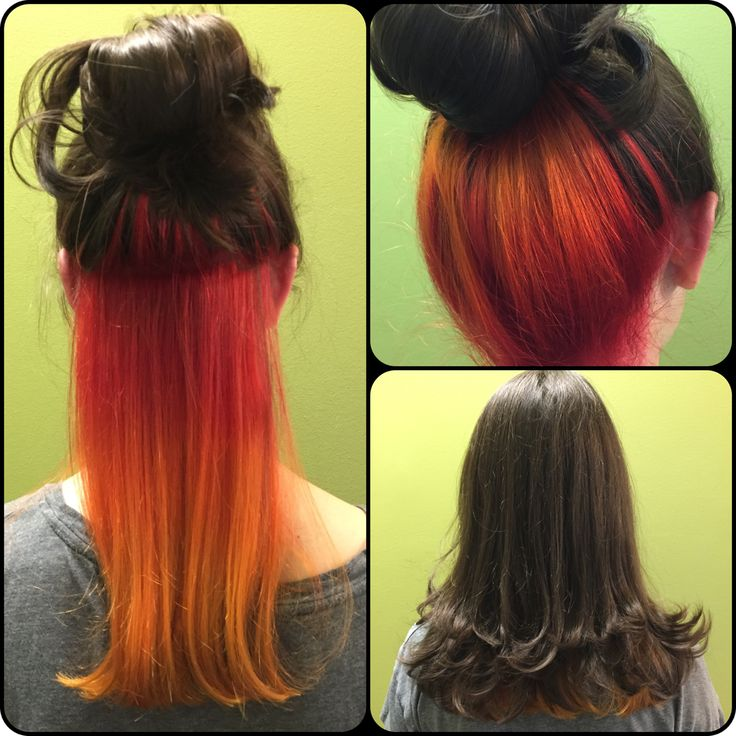 Fire inspired hair. Peek-a-boo Red to Orange to Yellow color melt. Bright Pravana Vivids Ombre hair color. Sunset hair.  Hair done by Mindy Hardy Heath Salon and Spa  Heath, Texas 972-771-0688 Rockwall Dallas Texas