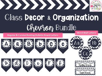 Chevron Classroom Decor Bundle-Editable Labels, Bulletin Board Letters, & More!