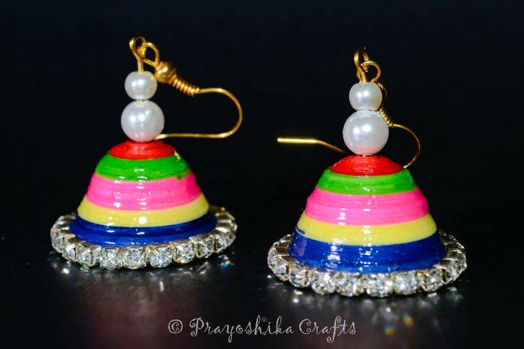 Prayoshika Crafts: Multi color Jhumka with white stones and beads......