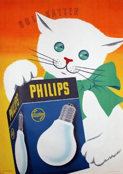 "Philips light bulb poster, 1940, Sweden. ""Sun Cats""."