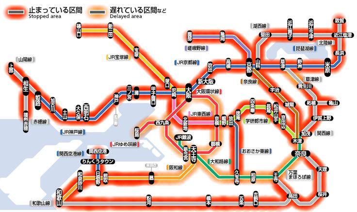 壊滅 京阪神地区の路線図