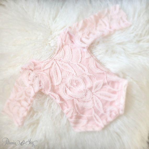 Newborn Pink Lace Romper Baby Girl  Jumper Romper by PetuniaandIvy