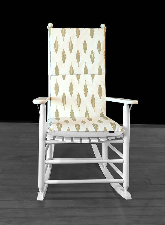 Rocking Chair Cushion Cover  White Feathers Metallic Gold