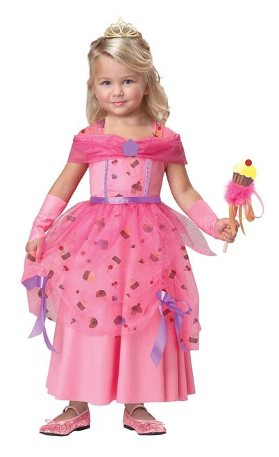 Sweet Fairy Cupcake Princess - This princess fairy dress for little girls takes the cake. ...cupcake that is. This amazing costume kit is jam packed with hours of play time. The base costume is a soft dress with a petty ink stretchy bodice and skirt, and a layer of cupcake printed organza fabric over the skirt and inset inside the bodice. The bodice is trimmed with a pretty purple and gold loop ribbon detailing. #cupcake #dessert #food #kids #calgary #yyc #costume