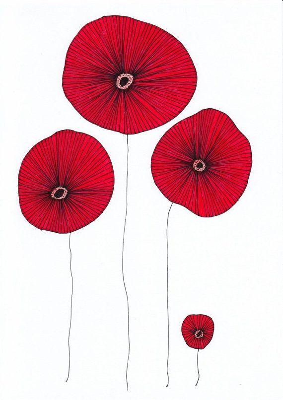 Poppy Flowers by EnchantedCrayons #etsy