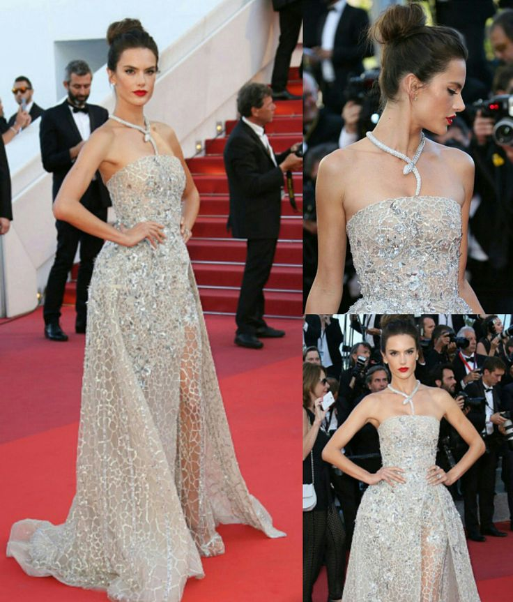 Ainda de #Cannes! Um look estouro da #diva Alessandra Ambrósio!💎 A top optou por glamouroso vestido fendado, com calça, de Zuhair Murad, cheio de lantejoulas e paetês. A produção combinou e estava incrível, como sempre! Arrasou!