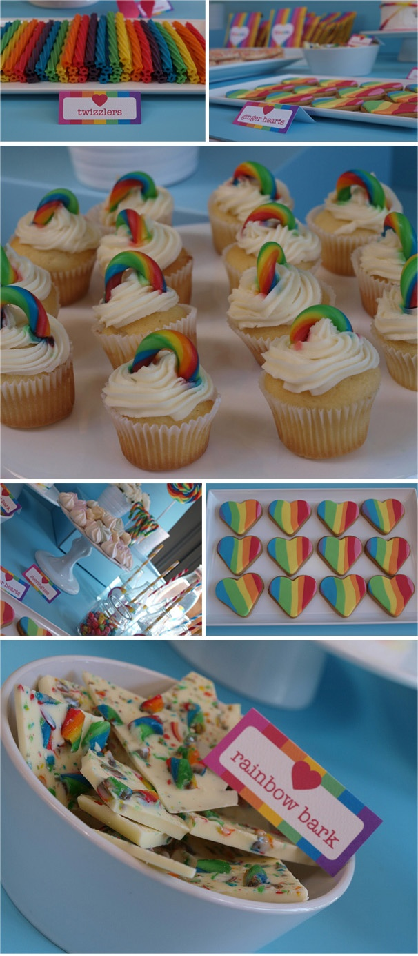 Rainbows on clouds on cupcakes!