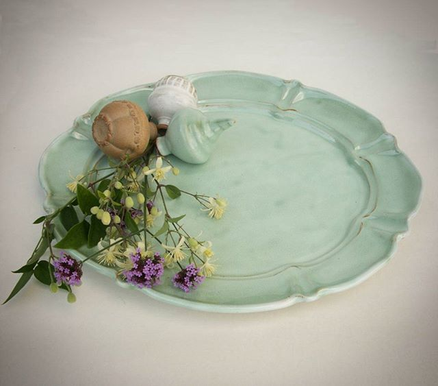 Pale green oval platter and some small ornaments from the latest firing. It is for sale in my online store - link in profile