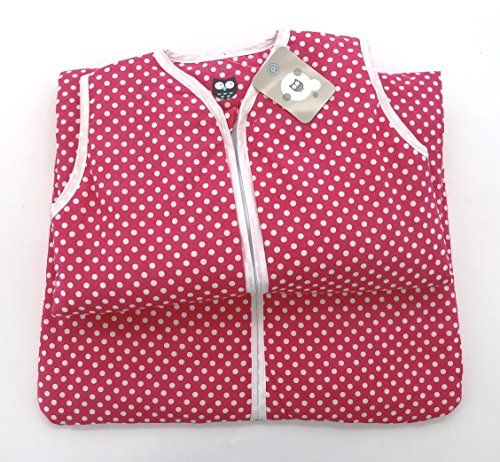 Baby Schlafsack aus 100% Baumwolle Punkte in pink 70 cm Babyschlafsack M�dchen leicht gef�ttert atmungsaktiv Ganzjahres-Schlafsack Kleinkind rosa Dots Typ373