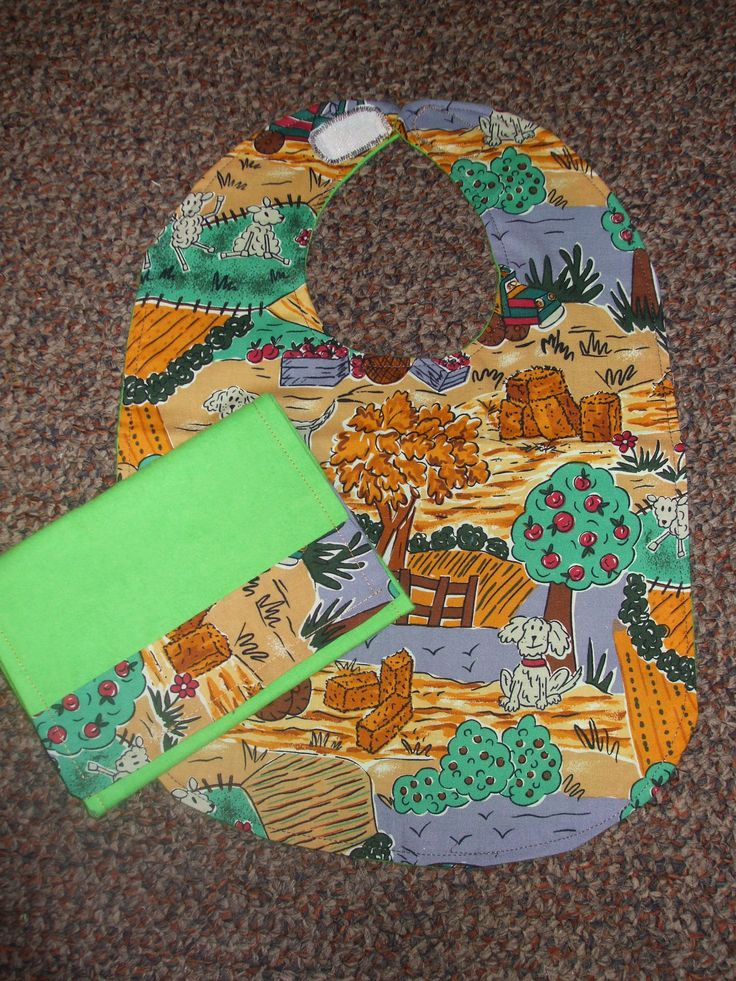 Down on the farm...Bib and matching Burp Cloth.  $12