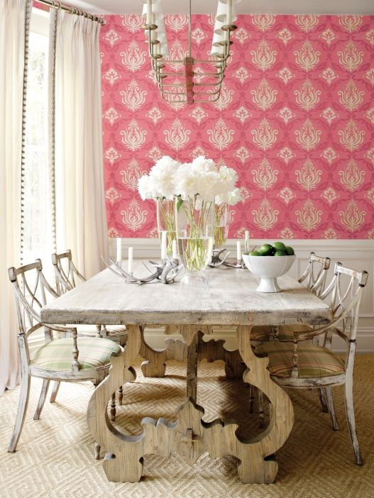 Picture Gallery Website love the pink damask wallpaper and the painted dining room table and chairs