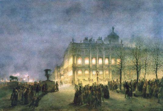 Vasily Sadovnikov: Vue du Palais d'Hiver dans les Nuits Blanches, 1856.