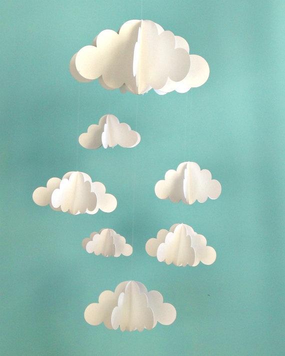 Mobile nuages en papier pour mobile chambre d'enfant.  Clouds Hanging Baby Mobile