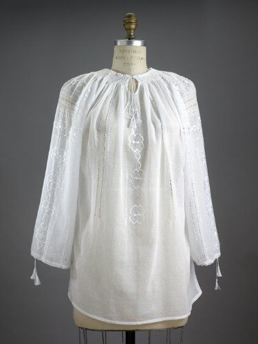 Embroidered Romantic Clover Field Peasant Blouse ~ White Cotton with Embroidery, Hand Made in Romania (Med) Carpatina - Renaissance Fashions. $124.00. Save 10%!