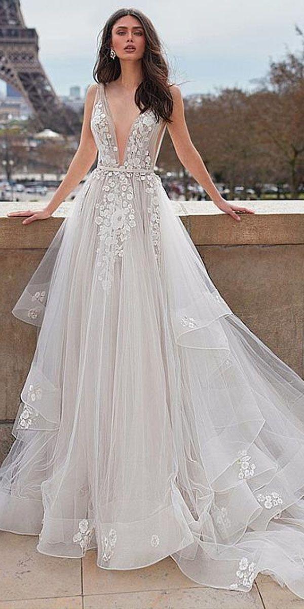 48fd94d03 Elegant Tulle V-neck Neckline A-line Wedding Dresses With Belt & Beaded Lace  Appliques