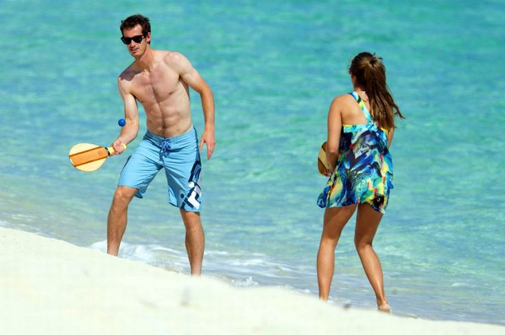 Wimbledon champion Andy Murray and girlfriend Kim Sears play some beach tennis down in the Bahamas. #SpousesinSports #TennisGirlfriend #ATP #AndyMurray #Wimbledon #BeachTennis #KimSears
