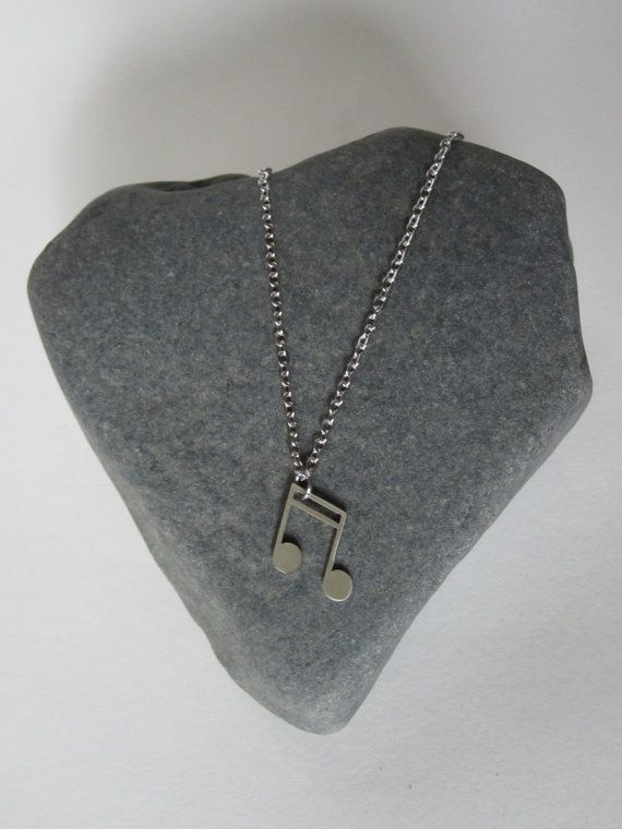 Music Note Necklace  Stainless Steel by Eighty8Eighty9 on Etsy