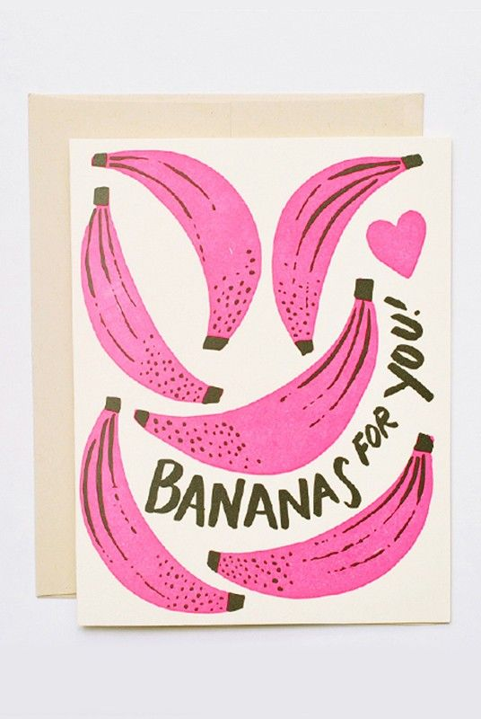 Hello Lucky - Card - Bananas For You  - Available from NoteMaker.com.au #Valentinesday #Valentines #Valentinecards