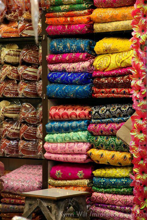 Asia, India, Delhi. Colorful Sari Shop in Old Delhi.                                                                                                                                                                                 More