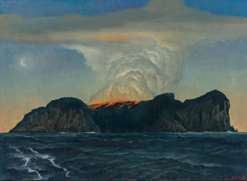 The island on fire - Rick Amor, 2014 Australian, b.1948- Oil on canvas73 x 100 cm