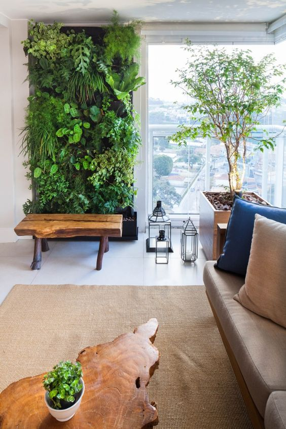 Projects - Mara Ramos Architecture and Design. Balcony with wall . com parede verde Projects - Mara Ramos Architecture and Design. Balcony with wall . Vertical Garden Design, Vertical Gardens, Vertical Bar, Indoor Plant Wall, Indoor Living Wall, Living Room, Moss Wall, Walled Garden, Plant Decor