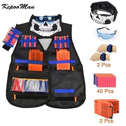 Tactical Vest Kit Nerf Guns N-Strike Black Tactical Elite Series Airsoft Vest #Kadyn