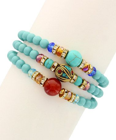 Gold & Turquoise Bead Stretch Bracelet